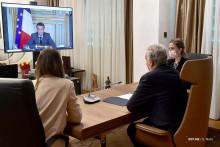 <p>Кривокапић и Макрон разговарали путем видео линка</p>