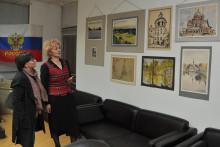 """<p>Поставка слика Ирине Селујанове у Друштву """"Св. Ђорђе"""" у Никшићу</p>"""