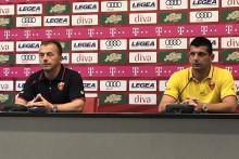 <p>Радуловић и Бећирај на конференцији за медије</p>