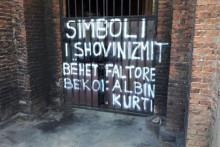 <p>Графити на храму у Приштини</p>