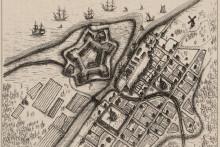 <p>План шведског утврђења Нијеншанц на коме је никао Петербург</p>