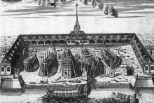 <p>Адмиралитет, 1716. г, гравура А.Ф. Зубова</p>