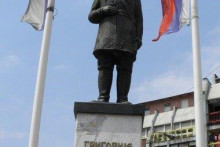 <p>Обновљени споменик Шчербини у сјеверном дијелу Косовске Митровице</p>