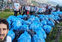 <p>Учесници акције у боровој шуми и сакупљени отпад</p>
