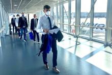 <p>Експедиција Будућности на аеродрому у Хелсинкију</p>