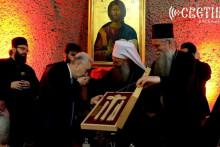 <p>Кривокапић са патријархом и митрополитом на ручку</p>